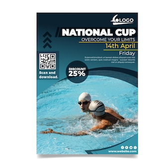 Swimming vertical flyer template