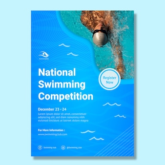 Swimming vertical poster template