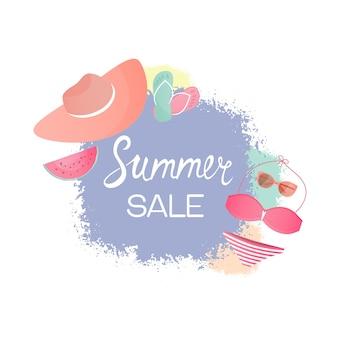 Swimsuit, hat, glasses, flip flops. design template for summer sale.