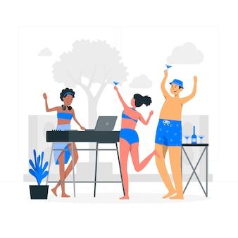 Illustrazione di concetto di festa in costume da bagno