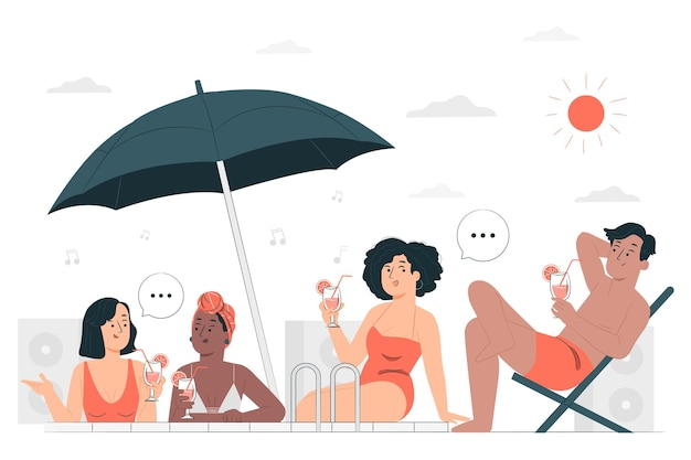 Swimsuit party concept illustration