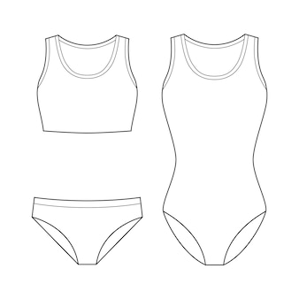 Swimwear fashion flat technical drawing vector template