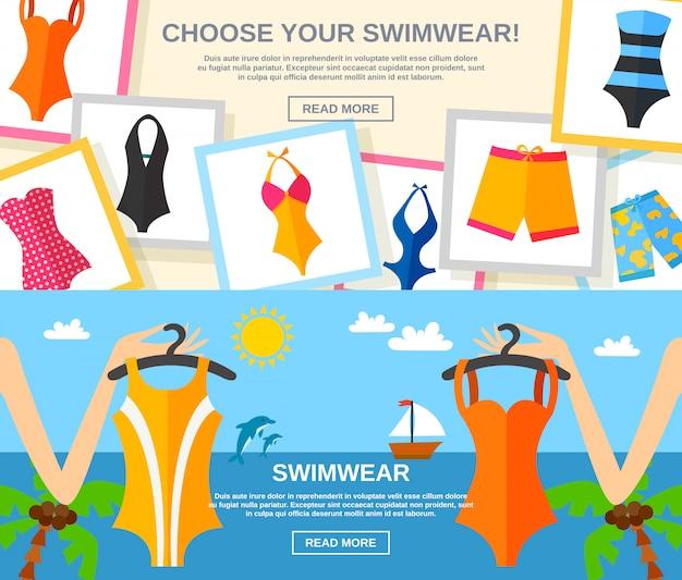 Swimwear flat banner set