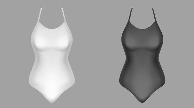Swimwear mockup, black and white bathing clothes