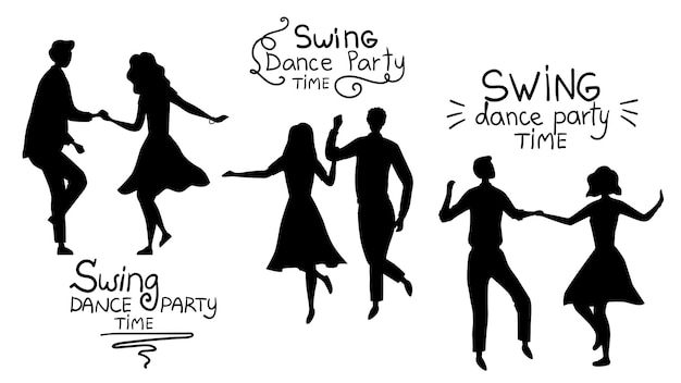 Swind dance party time concept. black silhouettes of young couples are dancing swing, rock and roll or lindy hop.