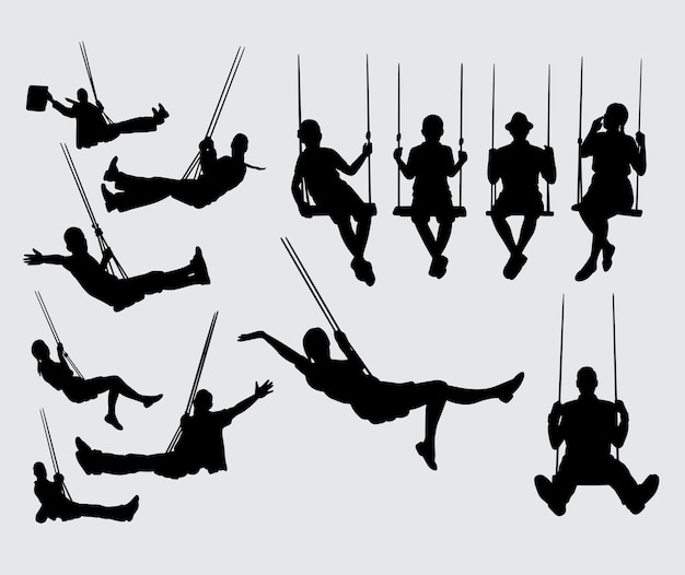 Swing male and female silhouette