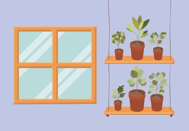 Swing with houseplants in pots