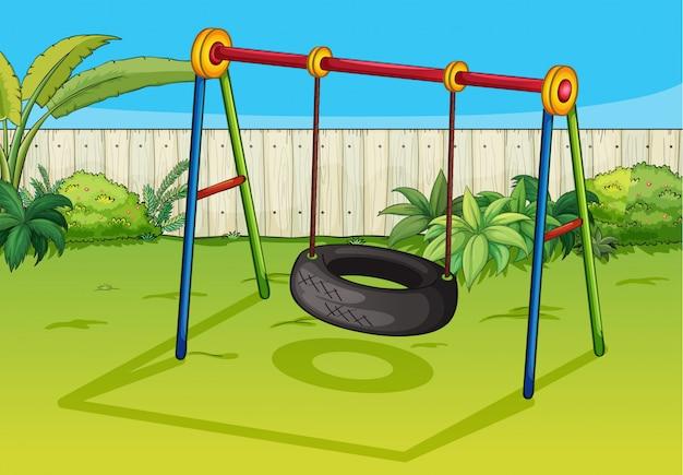 A swinging tyre