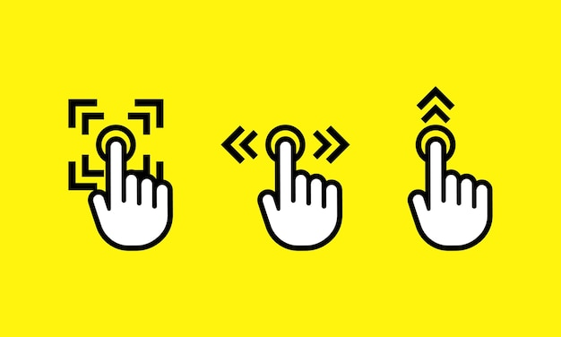 Swipe up and finger touch screen gestures