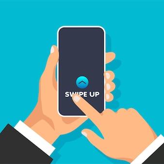 위로 살짝 밀기 손은 소셜 미디어 스크롤 화살표 및 웹 아이콘에 대한 빠른 액세스 버튼이 있는 전화기를 들고 있습니다.