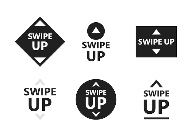 Swipe up icon set isolated on white background for social media stories, scroll pictogram. arrow up logo for blogger