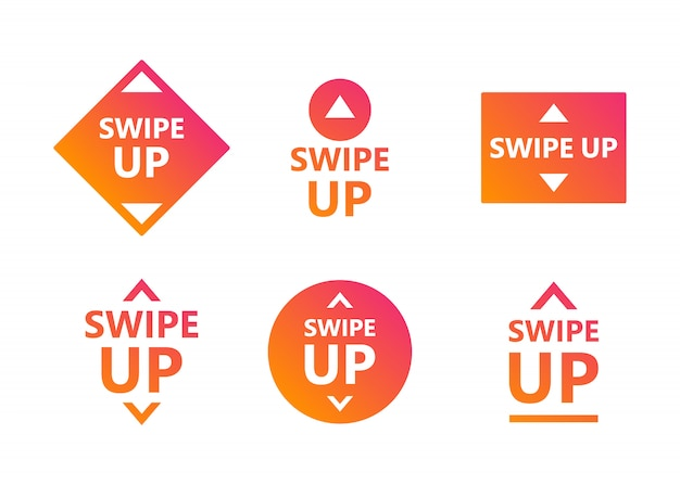 Swipe up icon set isolated on white background for social media stories, scroll pictogram. modern gradient.