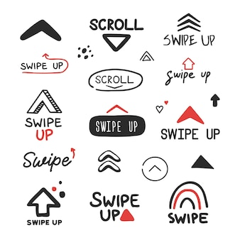 Swipe up icon for social media stories doodle hand drawn style
