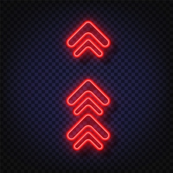 Swipe up neon sign. glowing neon arrow pointer isolated. realistic glowing bright neon arrow. shining and glowing neon effect.
