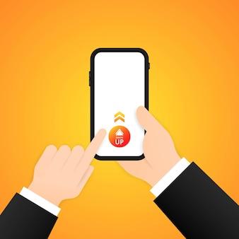 위로 스와이프하면 스마트폰 일러스트에서 더 많은 정보를 볼 수 있습니다. 소셜 미디어 블로깅 개념입니다. 격리 된 배경에 벡터입니다. eps 10.