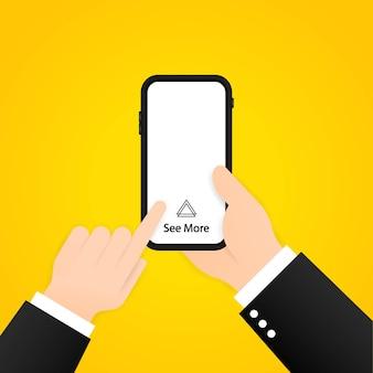 스마트폰에서 더 많은 것을 보려면 위로 스와이프하세요. 소셜 미디어 개념입니다. 격리 된 배경에 벡터입니다. eps 10.
