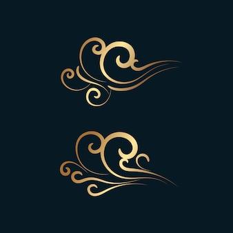 抽象的な黄金の飾り、波や風を旋回します。