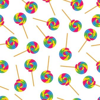 Swirl lollipop бесшовные шаблон дизайна вектор