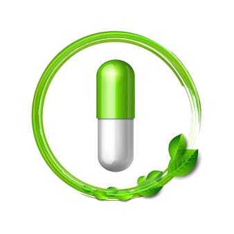 Вихрь зеленых листьев облетает натуральную лечебную таблетку. символ фармацевтического вектора для фармастора, гомеопатической и альтернативной медицины. векторные иллюстрации, изолированные на белом
