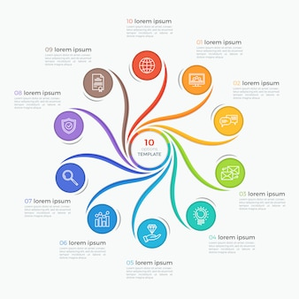 Swirl style infographic template with 10 options.