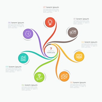 Swirl style infographic template with 7 options
