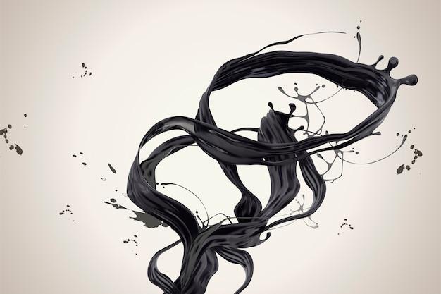 Закрученные темные чернила в 3d иллюстрации на бежевом фоне