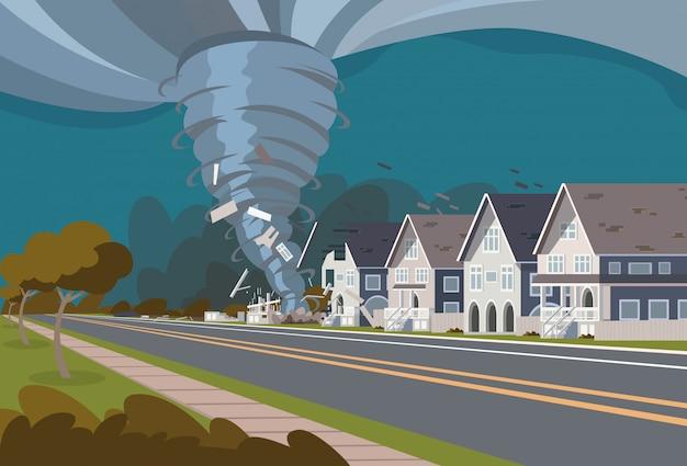 Swirling tornado in village destroy houses
