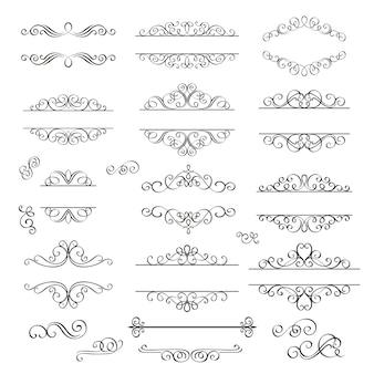 Swirls vintage design elements .