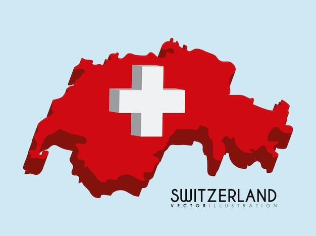 스위스 국가지도 아이콘