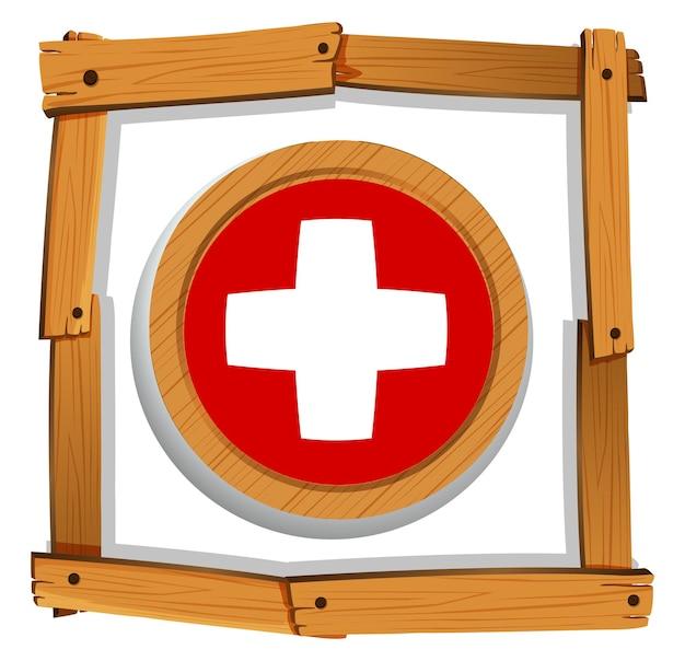 Швейцарский флаг на круглой кнопке