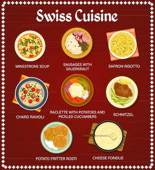 Swiss food restaurant meals menu template. fritter rosti, sausages with sauerkraut and chard ravioli, saffron risotto, schnitzel and cheese fondue, minestrone soup, raclette with potatoes vector