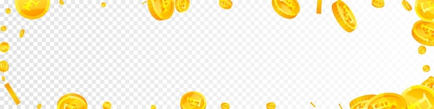 Swiss franc coins falling. comely scattered chf coins. switzerland money. lively jackpot, wealth or success concept. vector illustration.