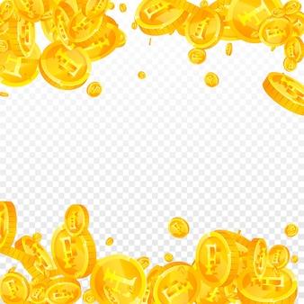 スイスフラン硬貨が下落。繊細な散らばったchfコイン。スイスのお金。ポジティブな大当たり、富または成功の概念。ベクトルイラスト。