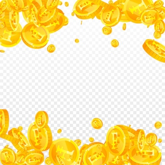 Swiss franc coins falling. delicate scattered chf coins. switzerland money. positive jackpot, wealth or success concept. vector illustration.