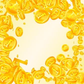 スイスフラン硬貨が下落。素晴らしい散らばったchfコイン。スイスのお金。きちんとした大当たり、富または成功の概念。ベクトルイラスト。