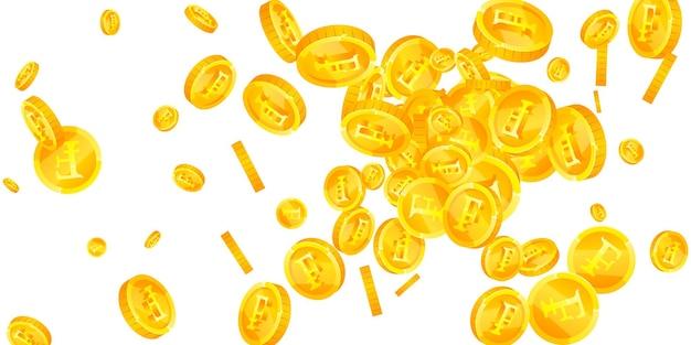 スイスフラン硬貨が下落。完璧に散らばったchfコイン。スイスのお金。価値のある大当たり、富または成功の概念。ベクトルイラスト。