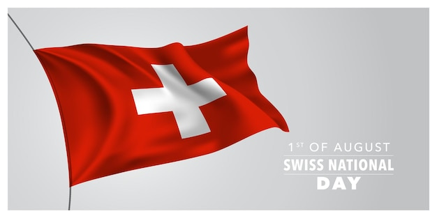 스위스 해피 국경일 인사말 카드, 배너, 가로 그림.