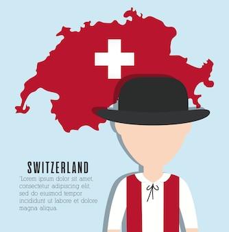 스위스 남자와 스위스 국가지도 아이콘