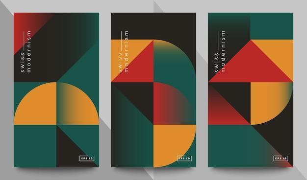 Набор баннеров швейцарского модернизма. простые геометрические фигуры и формы.