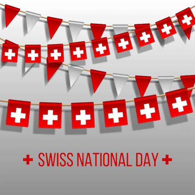 Швейцарский национальный день фон с висящими флагами. элементы праздничного оформления. гирлянда красные и белые флаги на сером фоне, повесьте овсянку для шаблона празднования швейцарии