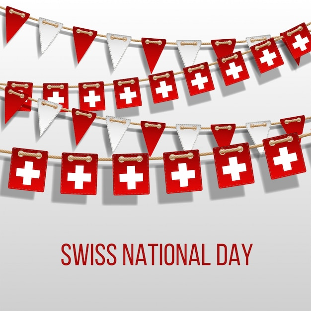 Swiss national day vector with hanging flags. holiday decoration elements. garland red and white flags