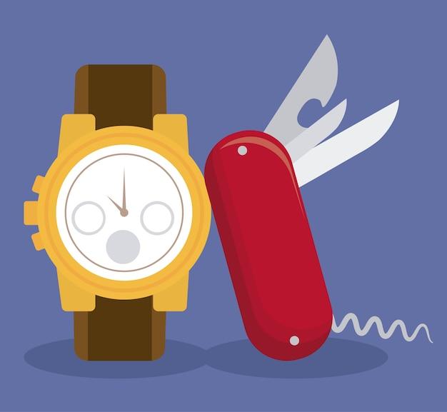 スイスの時計とポケットナイフのアイコン