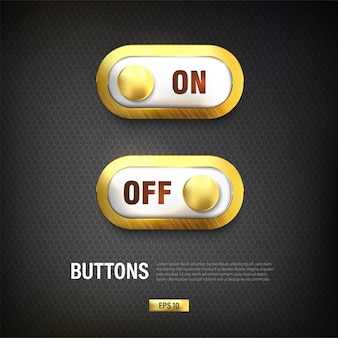 Switch on and off button vector color gold