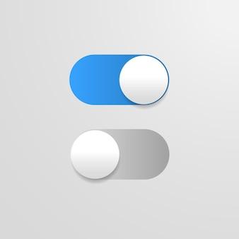 끄기 버튼 파란색 전환 모바일 앱 전원 슬라이더