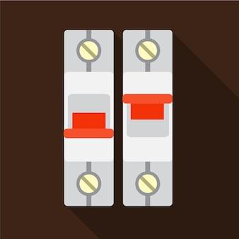 電気パネルフラットアイコンイラスト分離ベクトル記号記号をオンにします。