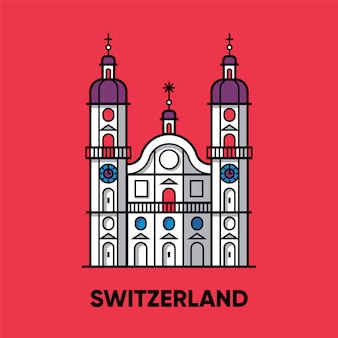 Швейцария, аббатство сен-галль, иллюстрация путешествия, плоский значок