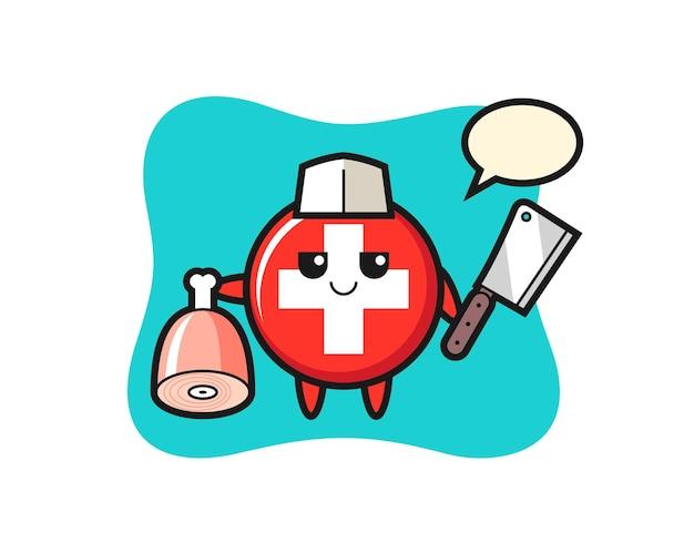 スイス国旗バッジ、tシャツ、ステッカー、ロゴ要素のかわいいスタイルのデザイン