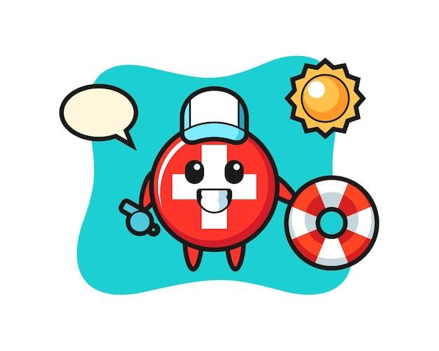 Switzerland flag badge, cute style design for t shirt, sticker, logo element