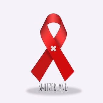 Switzerland flag ribbon design