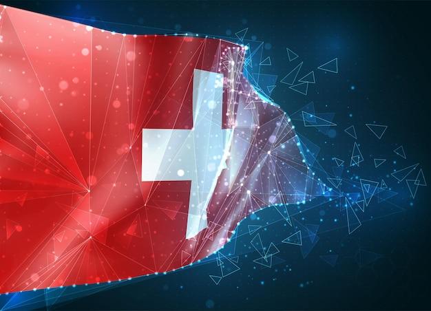 스위스, 플래그, 파란색 배경에 삼각형 폴리곤에서 가상 추상 3d 개체